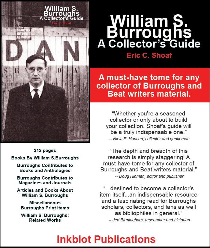 william s burroughs collectors guide inkblot publications eric shoaf